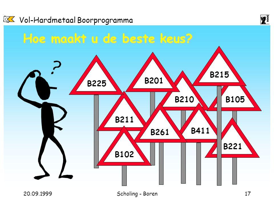 Vol-Hardmetaal Boorprogramma 20.09.1999Scholing - Boren17 Hoe maakt u de beste keus? B210 B201 B105 B215 B411 B261 B211 B102 B225 B221