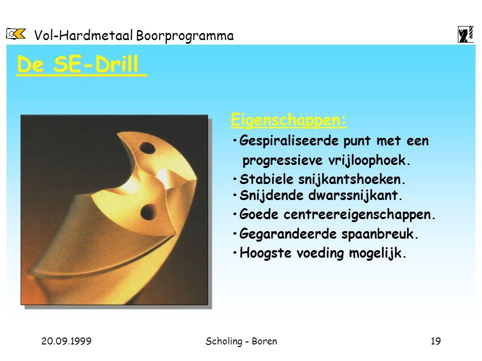 Vol-Hardmetaal Boorprogramma 20.09.1999Scholing - Boren19 Eigenschappen: Gespiraliseerde punt met een progressieve vrijloophoek. Stabiele snijkantshoe