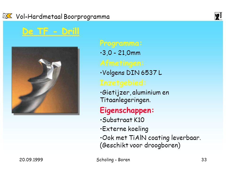 Vol-Hardmetaal Boorprogramma 20.09.1999Scholing - Boren33 De TF - Drill Programma: 3,0 - 21,0mm Afmetingen: Volgens DIN 6537 L Inzetgebied: Gietijzer,