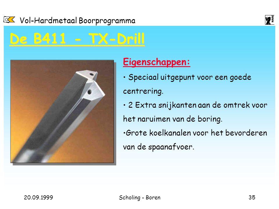 Vol-Hardmetaal Boorprogramma 20.09.1999Scholing - Boren35 Eigenschappen: Speciaal uitgepunt voor een goede centrering. 2 Extra snijkanten aan de omtre