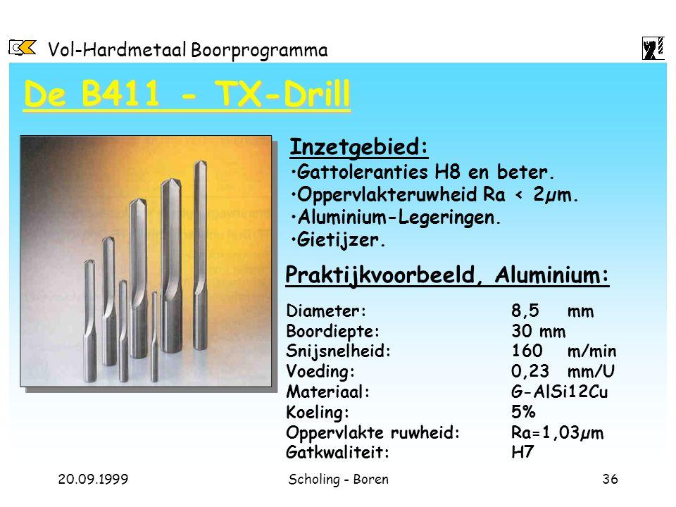 Vol-Hardmetaal Boorprogramma 20.09.1999Scholing - Boren36 De B411 - TX-Drill Diameter: 8,5mm Boordiepte:30 mm Snijsnelheid: 160m/min Voeding:0,23mm/U