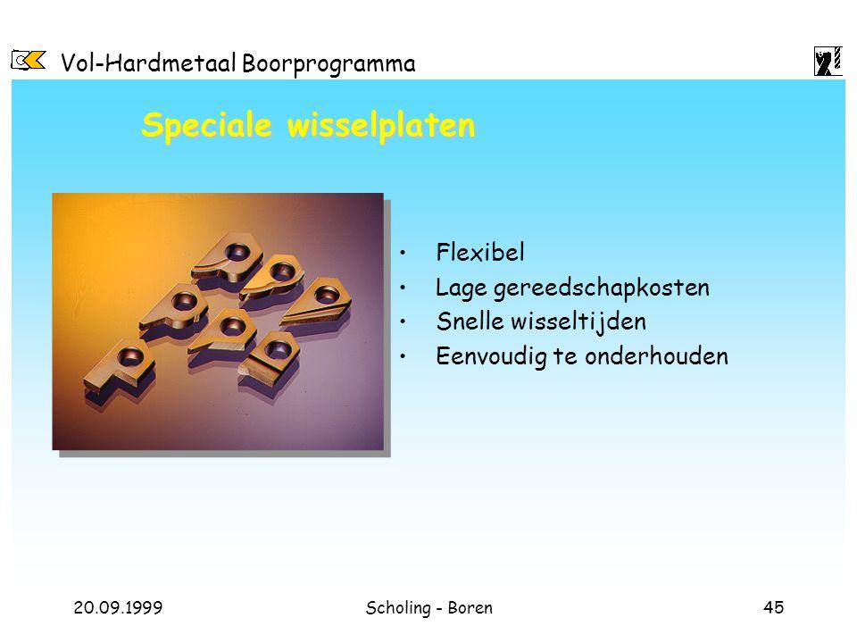 Vol-Hardmetaal Boorprogramma 20.09.1999Scholing - Boren45 Speciale wisselplaten Flexibel Lage gereedschapkosten Snelle wisseltijden Eenvoudig te onder