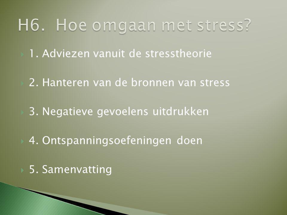  1. Adviezen vanuit de stresstheorie  2. Hanteren van de bronnen van stress  3. Negatieve gevoelens uitdrukken  4. Ontspanningsoefeningen doen  5