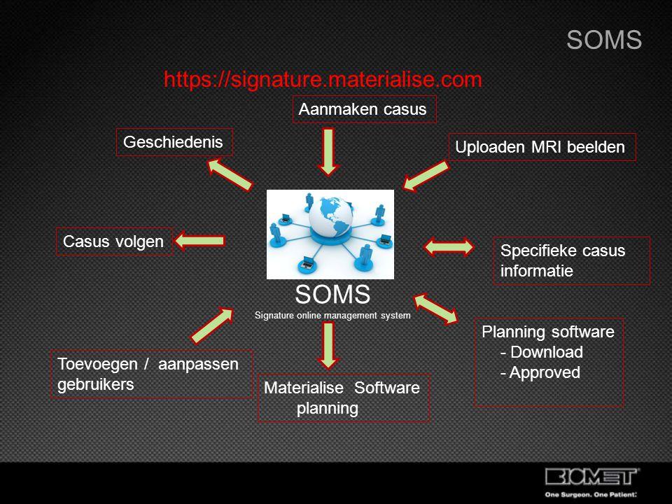 SOMS Signature online management system Aanmaken casus Materialise Software planning Planning software - Download - Approved Specifieke casus informat