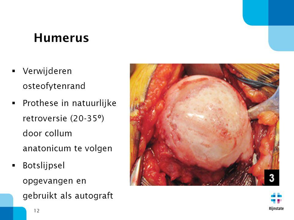 12 Humerus  Verwijderen osteofytenrand  Prothese in natuurlijke retroversie (20-35º) door collum anatonicum te volgen  Botslijpsel opgevangen en ge