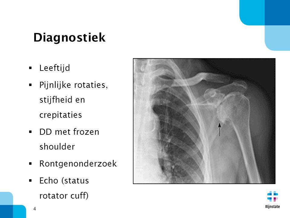 4 Diagnostiek  Leeftijd  Pijnlijke rotaties, stijfheid en crepitaties  DD met frozen shoulder  Rontgenonderzoek  Echo (status rotator cuff)