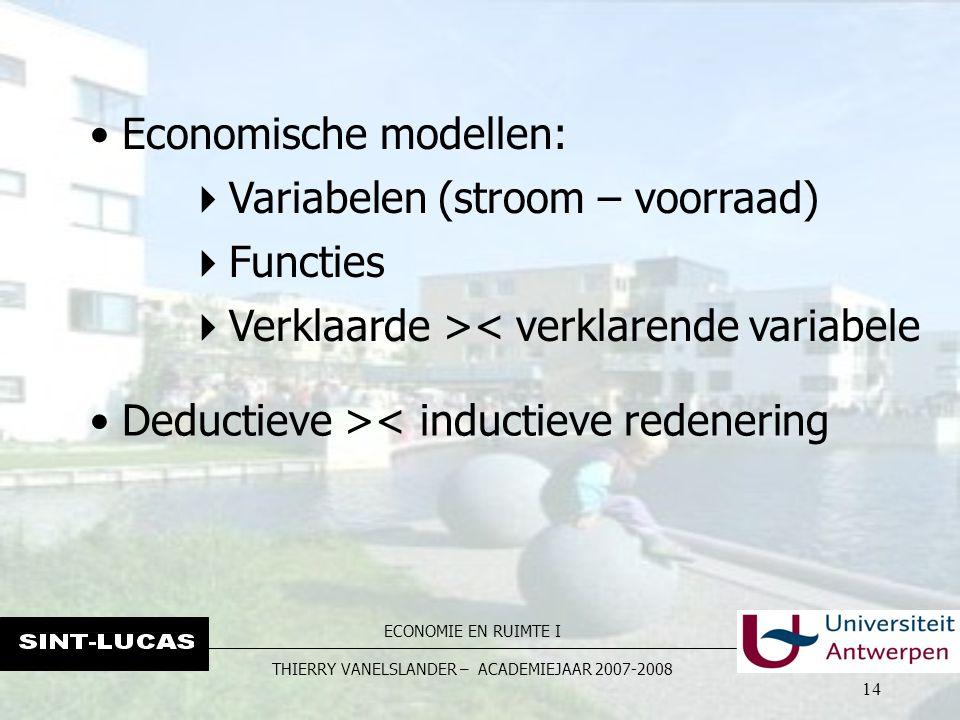 ECONOMIE EN RUIMTE I THIERRY VANELSLANDER – ACADEMIEJAAR 2007-2008 14 Economische modellen:  Variabelen (stroom – voorraad)  Functies  Verklaarde >< verklarende variabele Deductieve >< inductieve redenering
