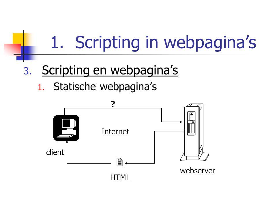 1.Scripting in webpagina's 3. Scripting en webpagina's 1.