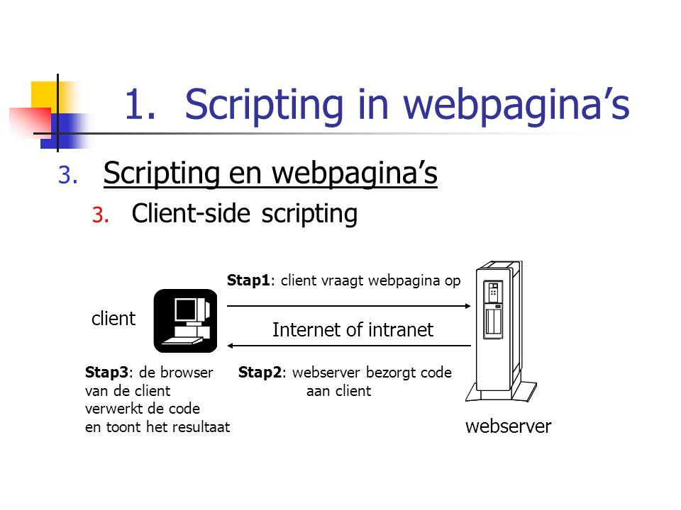 1.Scripting in webpagina's 3.Scripting en webpagina's 4.