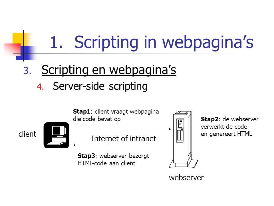 1.Scripting in webpagina's 3. Scripting en webpagina's 4.