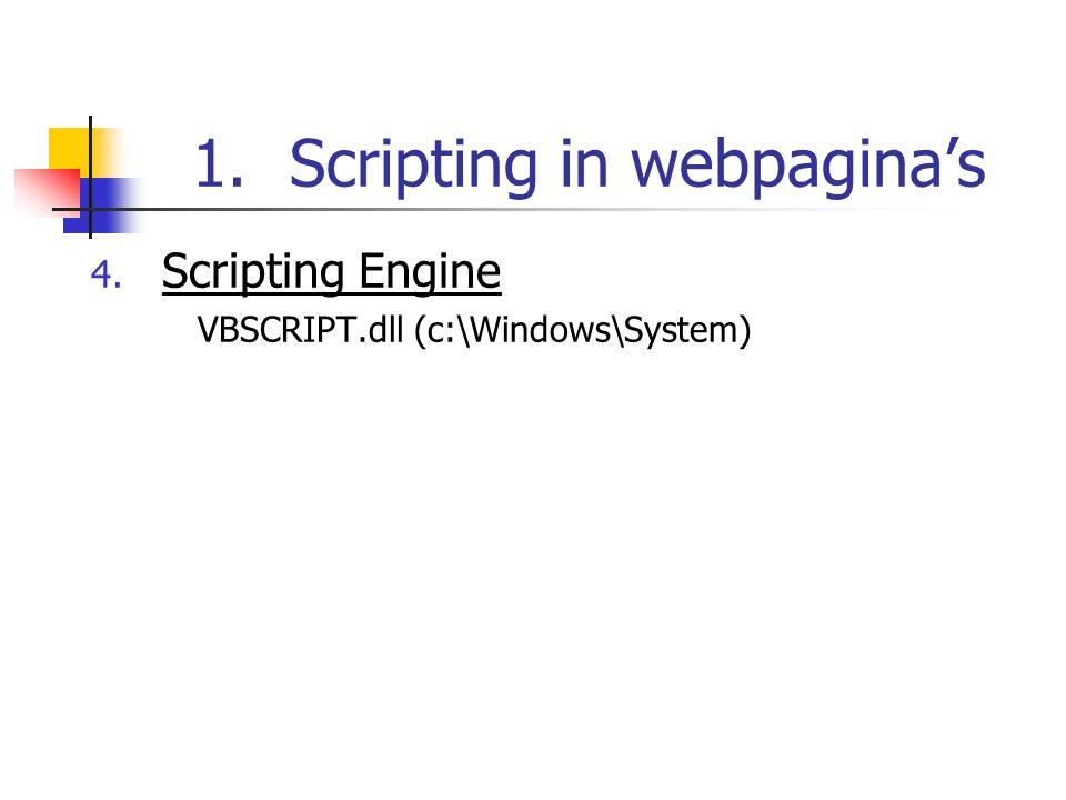 2.VBScript programmeeromgeving 3.Foutafhandeling On Error Resume Next On Error Goto 0 Eigenschappen en methoden van het object ERR Number: Err.Number : foutnummer Description: Err.Description : foutmelding Clear: Err.Clear : maakt inhoud van de eigenschappen leeg