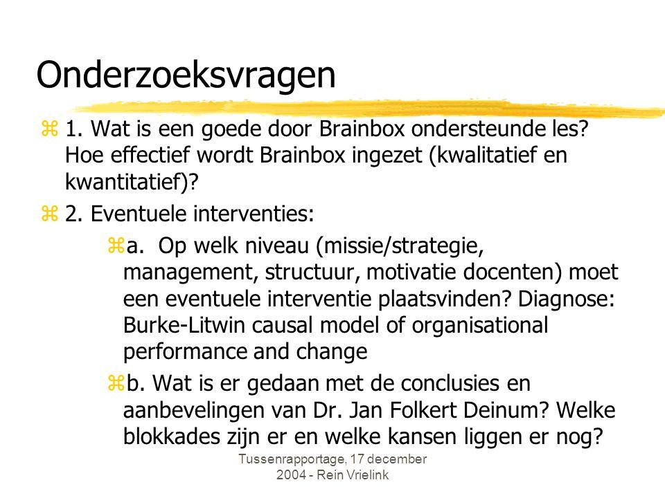 Tussenrapportage, 17 december 2004 - Rein Vrielink Efficiency van een door Brainbox ondersteunde les.