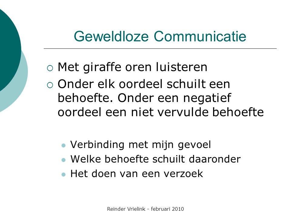 Reinder Vrielink - februari 2010 Geweldloze Communicatie  Met giraffe oren luisteren  Onder elk oordeel schuilt een behoefte.