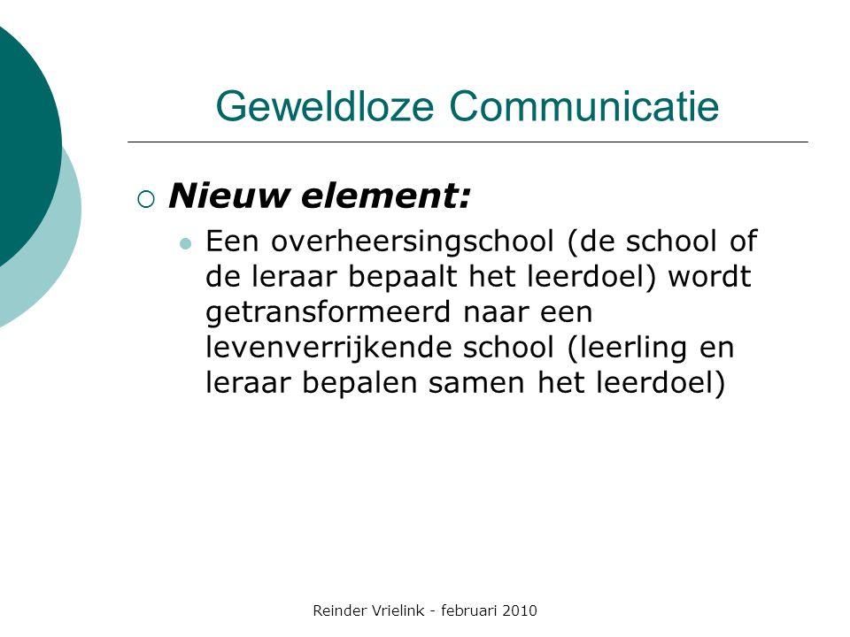 Reinder Vrielink - februari 2010 Geweldloze Communicatie  Nieuw element: Een overheersingschool (de school of de leraar bepaalt het leerdoel) wordt g