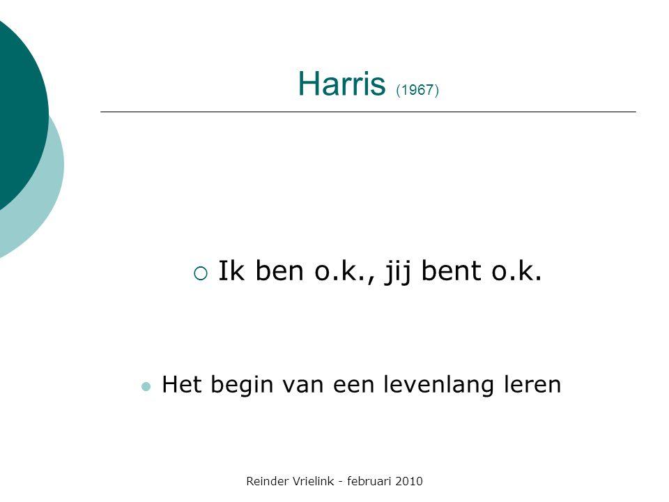Harris (1967)  Ik ben o.k., jij bent o.k. Het begin van een levenlang leren Reinder Vrielink - februari 2010