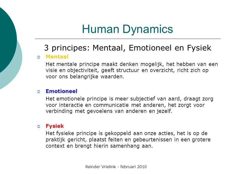 Human Dynamics 3 principes: Mentaal, Emotioneel en Fysiek  Mentaal Het mentale principe maakt denken mogelijk, het hebben van een visie en objectiviteit, geeft structuur en overzicht, richt zich op voor ons belangrijke waarden.