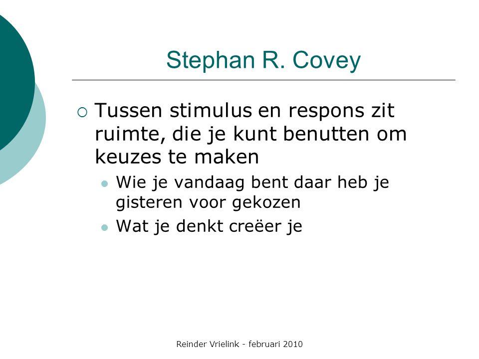 Reinder Vrielink - februari 2010 Stephan R. Covey  Tussen stimulus en respons zit ruimte, die je kunt benutten om keuzes te maken Wie je vandaag bent