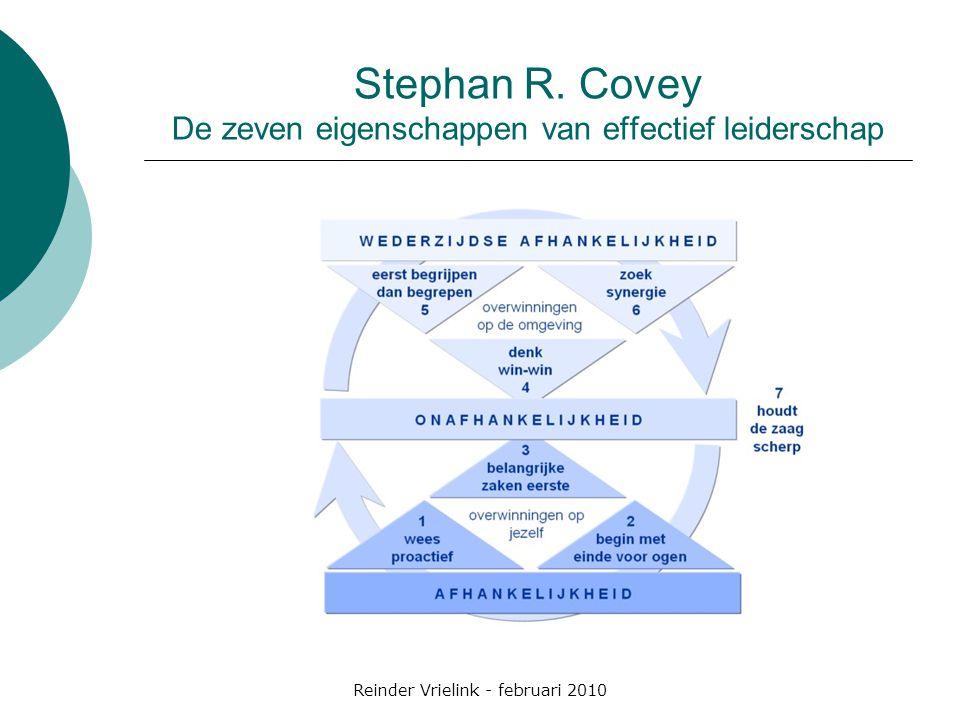 Reinder Vrielink - februari 2010 Stephan R. Covey De zeven eigenschappen van effectief leiderschap