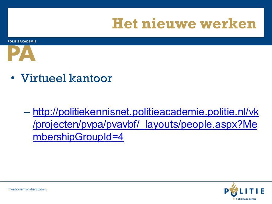 Het nieuwe werken Virtueel kantoor –http://politiekennisnet.politieacademie.politie.nl/vk /projecten/pvpa/pvavbf/_layouts/people.aspx?Me mbershipGroupId=4http://politiekennisnet.politieacademie.politie.nl/vk /projecten/pvpa/pvavbf/_layouts/people.aspx?Me mbershipGroupId=4