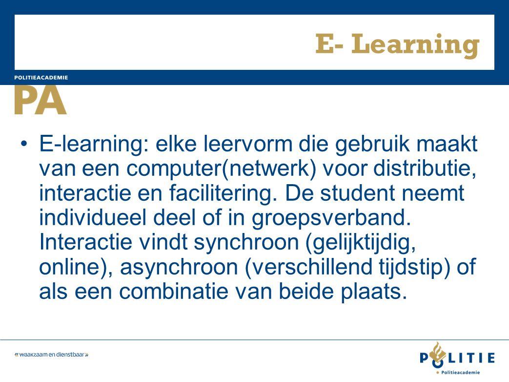 E- Learning E-learning: elke leervorm die gebruik maakt van een computer(netwerk) voor distributie, interactie en facilitering.