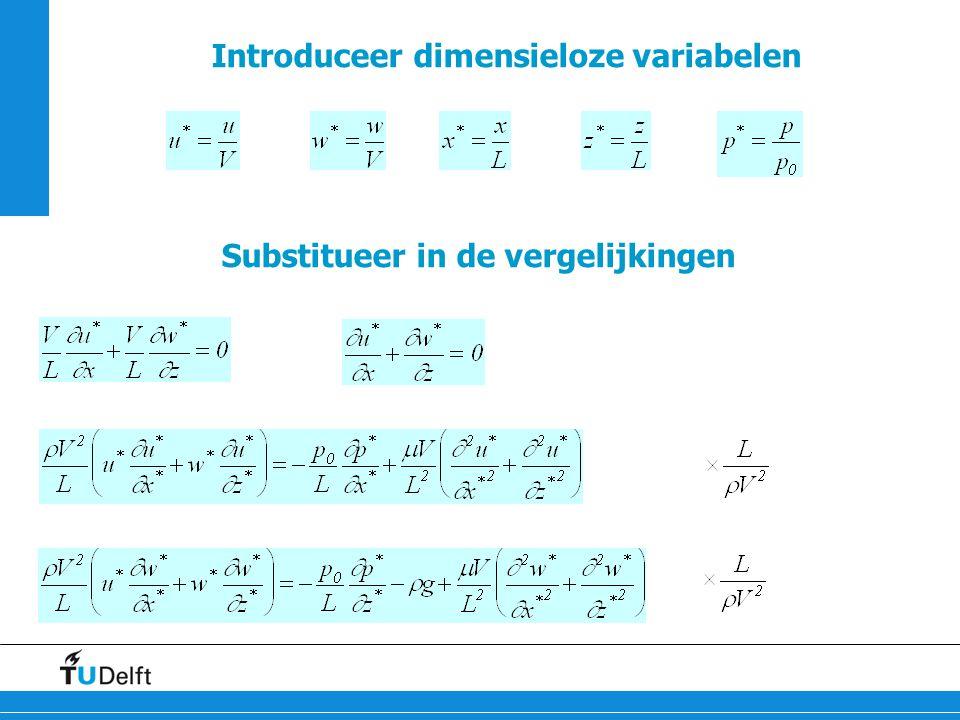 18 Introduceer dimensieloze variabelen Substitueer in de vergelijkingen