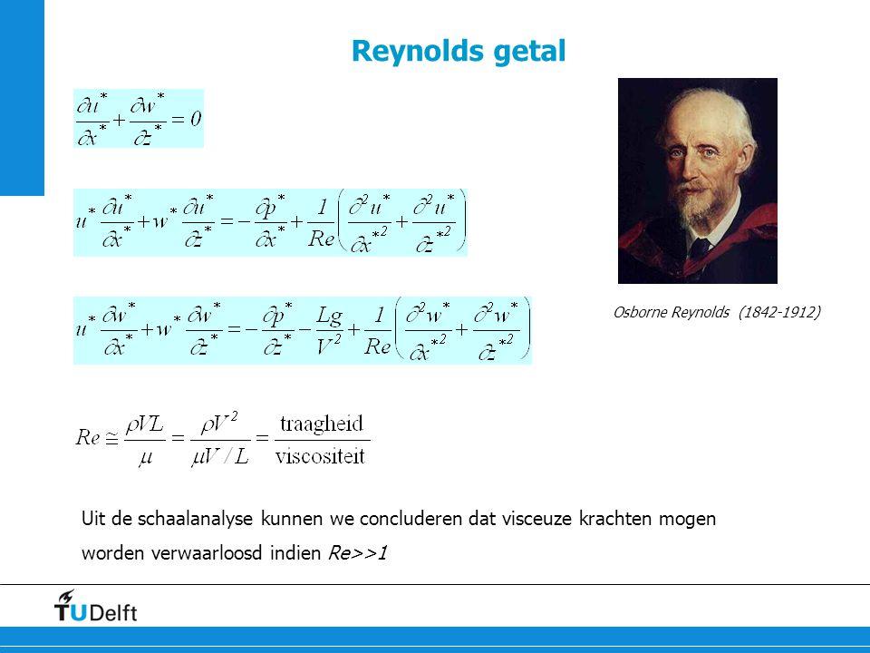 19 Reynolds getal Uit de schaalanalyse kunnen we concluderen dat visceuze krachten mogen worden verwaarloosd indien Re>>1 Osborne Reynolds (1842-1912)
