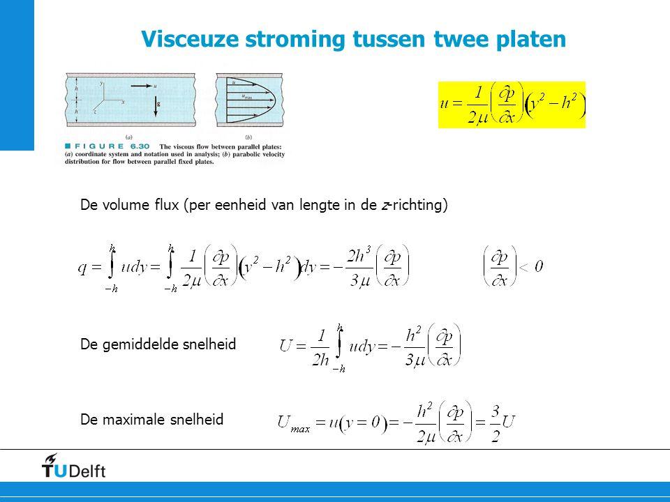 27 Visceuze stroming tussen twee platen De volume flux (per eenheid van lengte in de z-richting) De gemiddelde snelheid De maximale snelheid