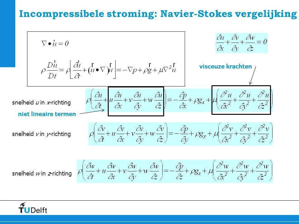 6 Incompressibele stroming: Navier-Stokes vergelijking niet lineaire termen visceuze krachten snelheid u in x-richting snelheid v in y-richting snelhe