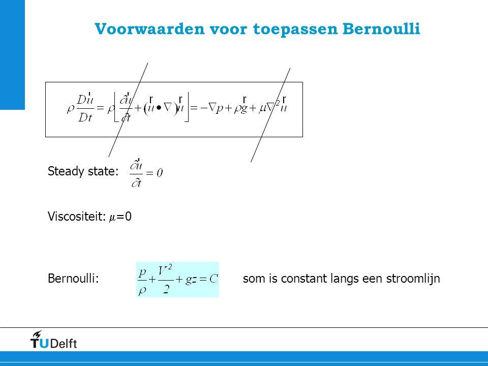 8 Voorwaarden voor toepassen Bernoulli Steady state: Viscositeit:  =0 Bernoulli:som is constant langs een stroomlijn