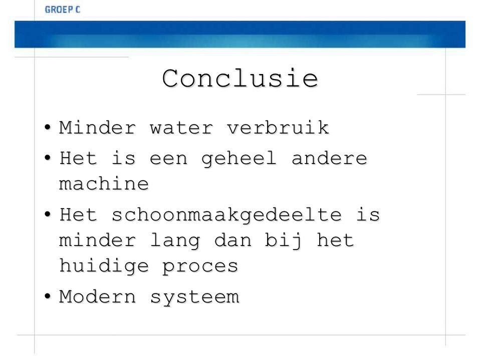 Conclusie Minder water verbruik Minder water verbruik Het is een geheel andere machine Het is een geheel andere machine Het schoonmaakgedeelte is mind
