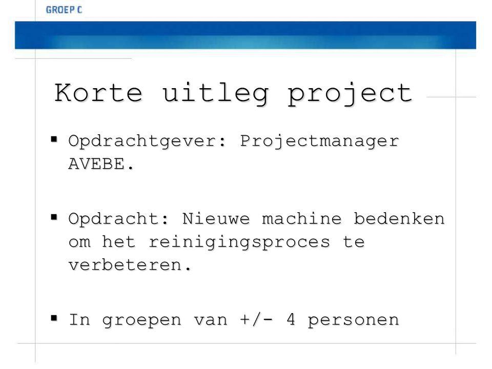 Korte uitleg project  Opdrachtgever: Projectmanager AVEBE.  Opdracht: Nieuwe machine bedenken om het reinigingsproces te verbeteren.  In groepen va