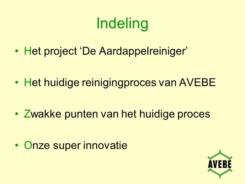Indeling Het project 'De Aardappelreiniger' Het huidige reinigingproces van AVEBE Zwakke punten van het huidige proces Onze super innovatie