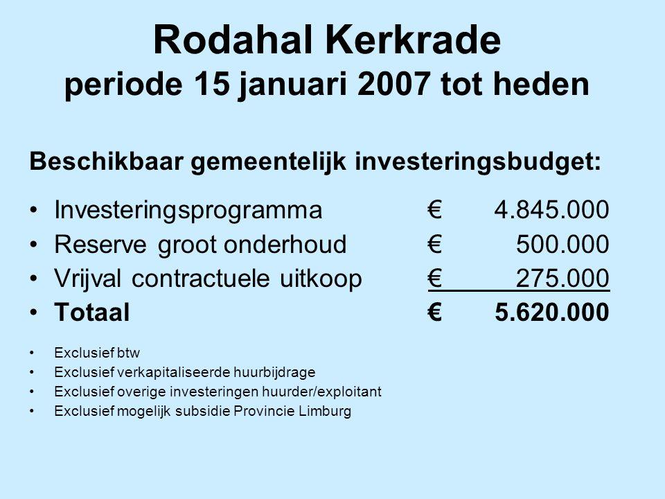 Rodahal Kerkrade periode 15 januari 2007 tot heden Beschikbaar gemeentelijk investeringsbudget: Investeringsprogramma€4.845.000 Reserve groot onderhou