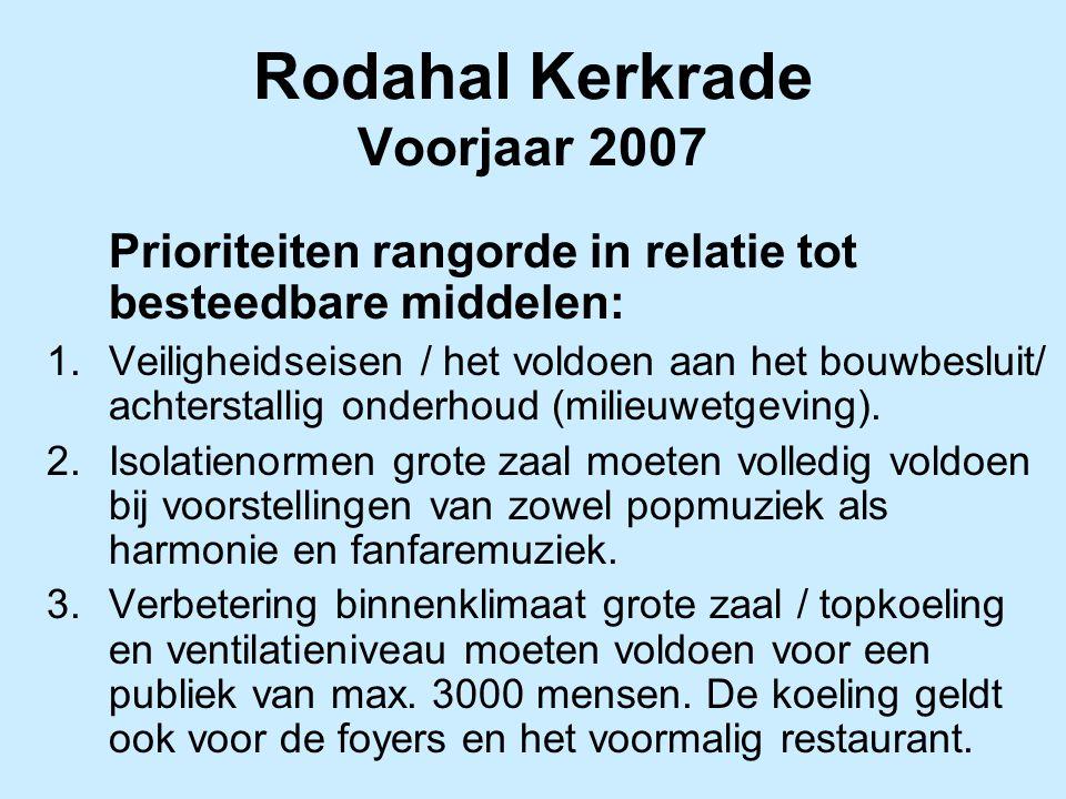 Rodahal Kerkrade Voorjaar 2007 Prioriteiten rangorde in relatie tot besteedbare middelen: 1.Veiligheidseisen / het voldoen aan het bouwbesluit/ achterstallig onderhoud (milieuwetgeving).