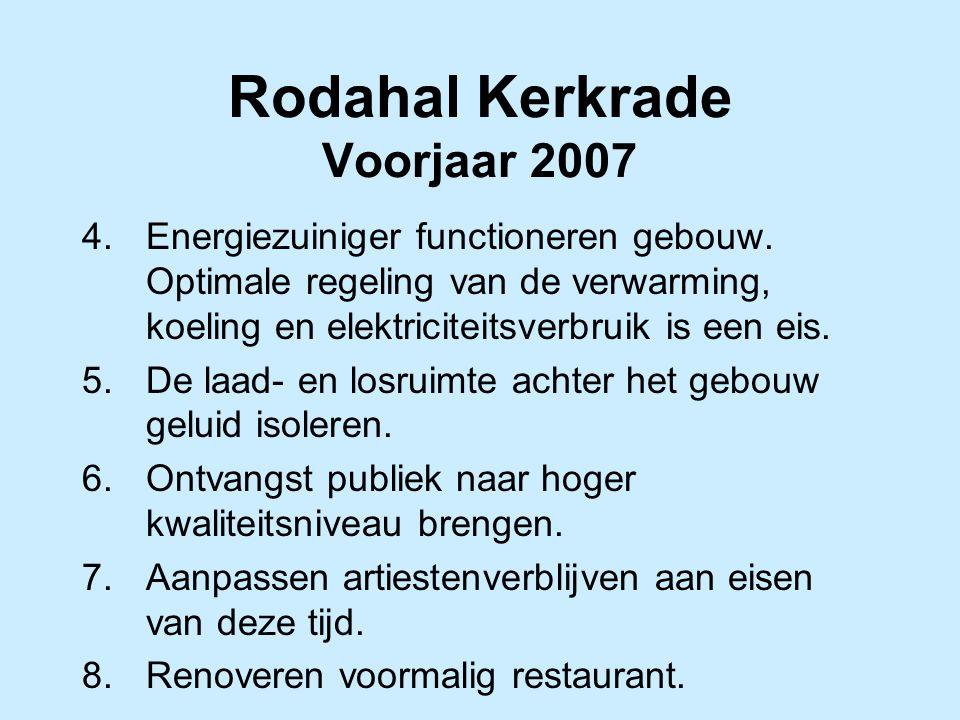 Rodahal Kerkrade Voorjaar 2007 4.Energiezuiniger functioneren gebouw. Optimale regeling van de verwarming, koeling en elektriciteitsverbruik is een ei