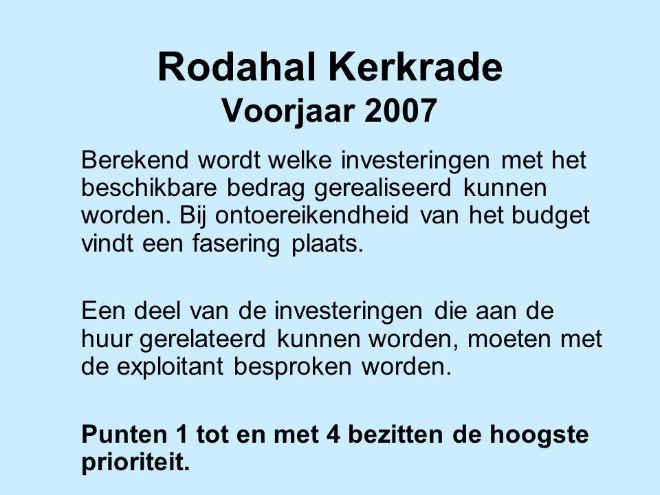Rodahal Kerkrade Voorjaar 2007 Berekend wordt welke investeringen met het beschikbare bedrag gerealiseerd kunnen worden. Bij ontoereikendheid van het