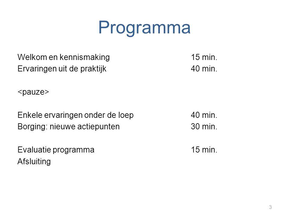 Programma Welkom en kennismaking15 min. Ervaringen uit de praktijk40 min. Enkele ervaringen onder de loep40 min. Borging: nieuwe actiepunten 30 min. E