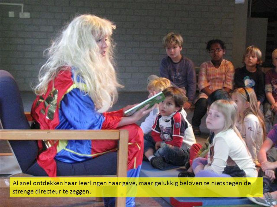Al snel ontdekken haar leerlingen haar gave, maar gelukkig beloven ze niets tegen de strenge directeur te zeggen.