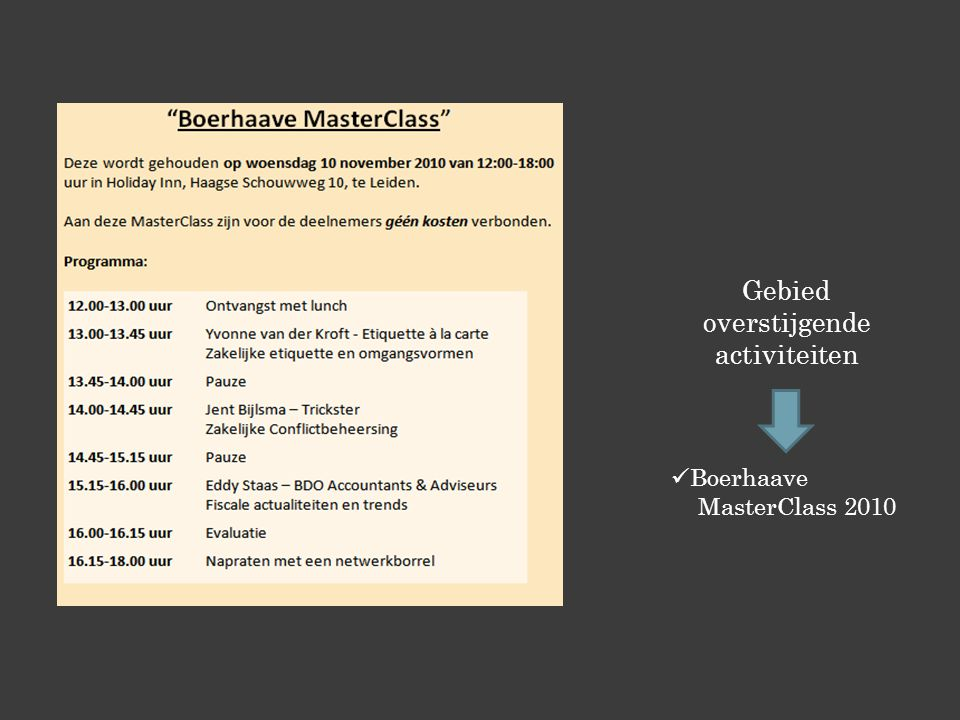 Gebied overstijgende activiteiten Boerhaave MasterClass 2010