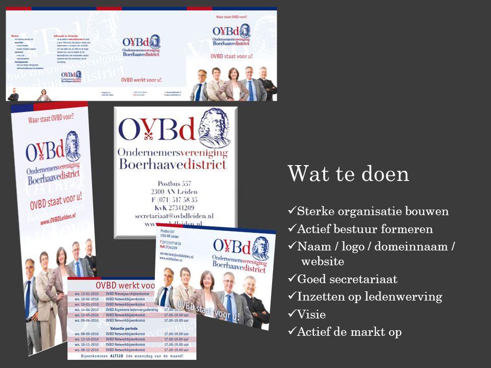 Wat te doen Sterke organisatie bouwen Actief bestuur formeren Naam / logo / domeinnaam / website Goed secretariaat Inzetten op ledenwerving Visie Acti