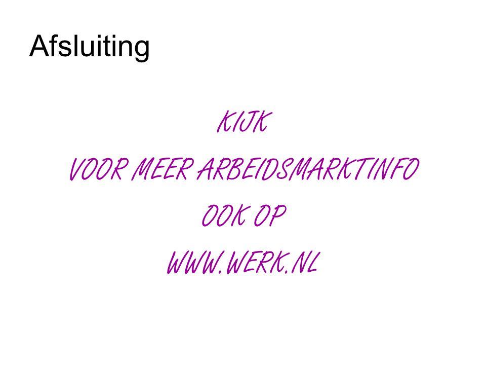 Afsluiting KIJK VOOR MEER ARBEIDSMARKTINFO OOK OP WWW.WERK.NL