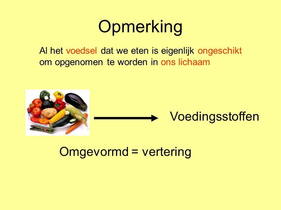 Opmerking Voedingsstoffen Omgevormd = vertering Al het voedsel dat we eten is eigenlijk ongeschikt om opgenomen te worden in ons lichaam