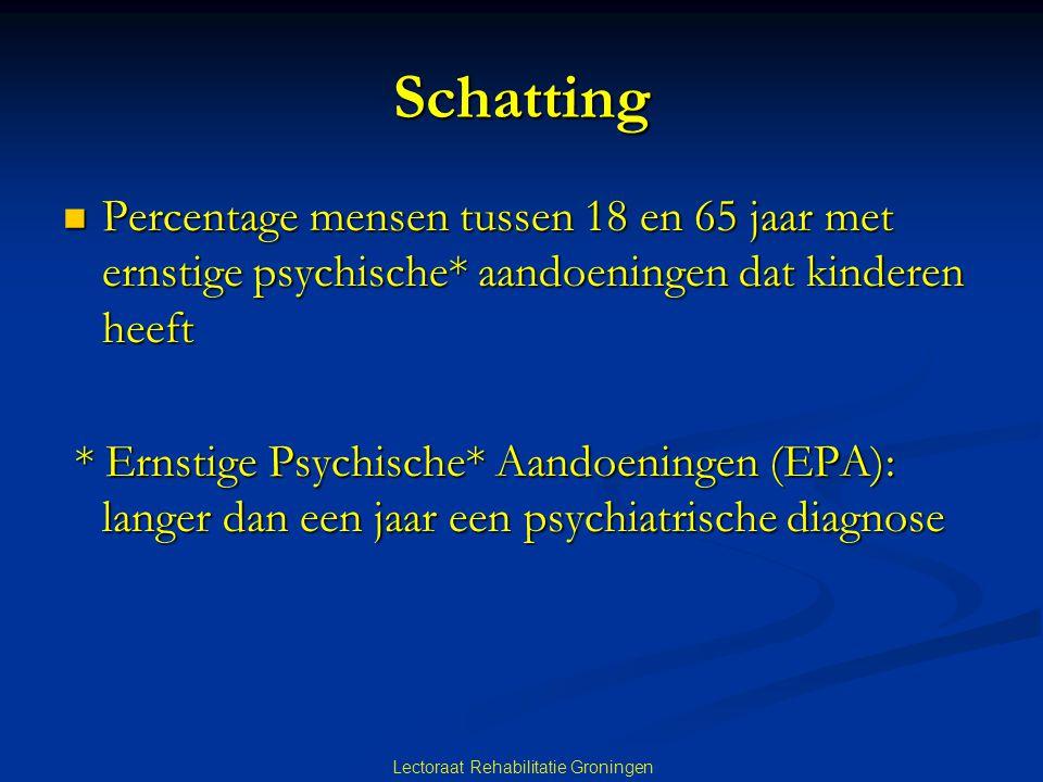 Schatting Percentage mensen tussen 18 en 65 jaar met ernstige psychische* aandoeningen dat kinderen heeft Percentage mensen tussen 18 en 65 jaar met ernstige psychische* aandoeningen dat kinderen heeft * Ernstige Psychische* Aandoeningen (EPA): langer dan een jaar een psychiatrische diagnose * Ernstige Psychische* Aandoeningen (EPA): langer dan een jaar een psychiatrische diagnose Lectoraat Rehabilitatie Groningen