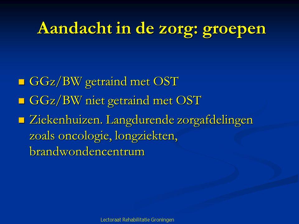 Aandacht in de zorg: groepen Aandacht in de zorg: groepen GGz/BW getraind met OST GGz/BW getraind met OST GGz/BW niet getraind met OST GGz/BW niet getraind met OST Ziekenhuizen.