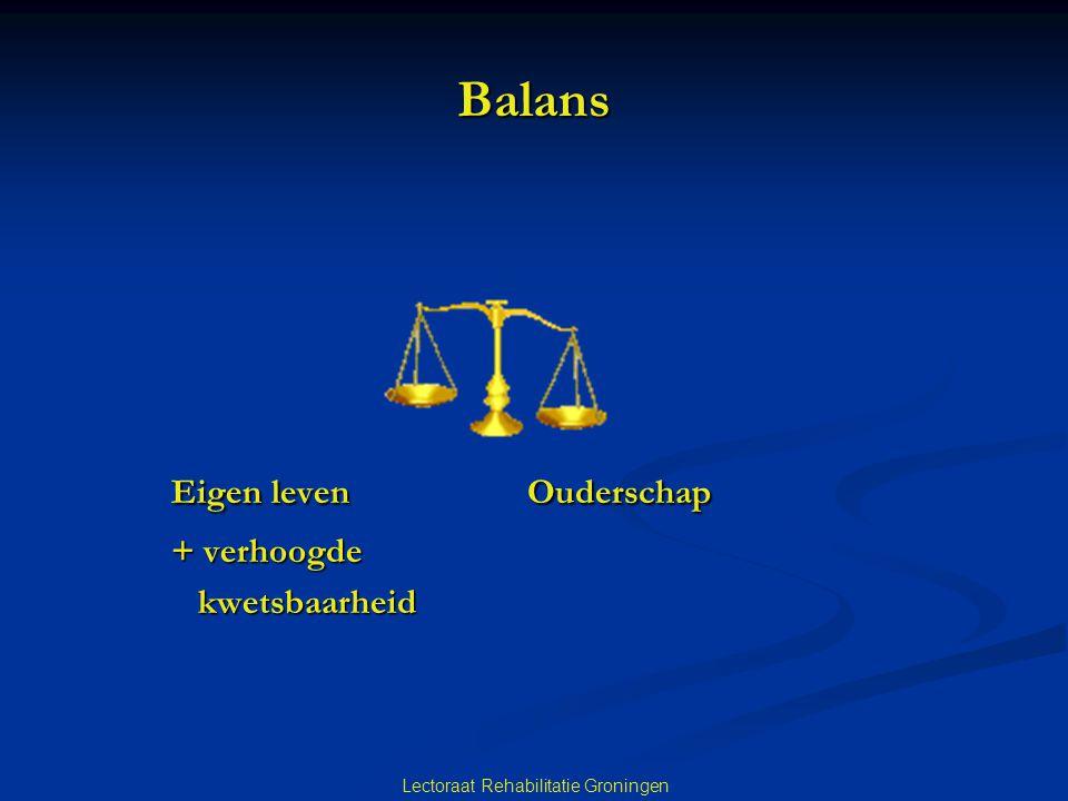 Lectoraat Rehabilitatie Groningen Balans Eigen leven Ouderschap + verhoogde kwetsbaarheid kwetsbaarheid