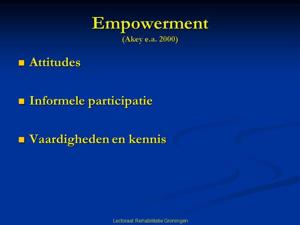 Lectoraat Rehabilitatie Groningen Empowerment (Akey e.a. 2000) Attitudes Attitudes Informele participatie Informele participatie Vaardigheden en kenni