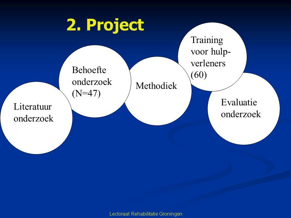 Lectoraat Rehabilitatie Groningen Evaluatie onderzoek Training voor hulp- verleners (60) Methodiek Behoefte onderzoek (N=47) Literatuur onderzoek 2. P