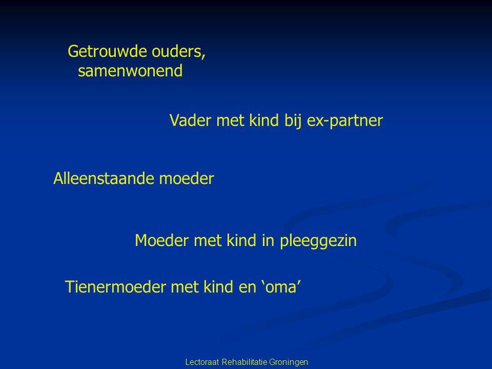 Lectoraat Rehabilitatie Groningen Getrouwde ouders, samenwonend Vader met kind bij ex-partner Alleenstaande moeder Moeder met kind in pleeggezin Tiene