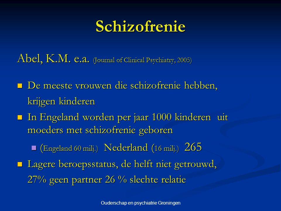 Ouderschap en psychiatrie Groningen Vervolg Trainingen voor hulpverleners Trainingen voor hulpverleners Gecontroleerde studie naar effectiviteit van de methodiek Gecontroleerde studie naar effectiviteit van de methodiek Ontwikkelen van methodiek voor themabijeenkomsten Ontwikkelen van methodiek voor themabijeenkomsten