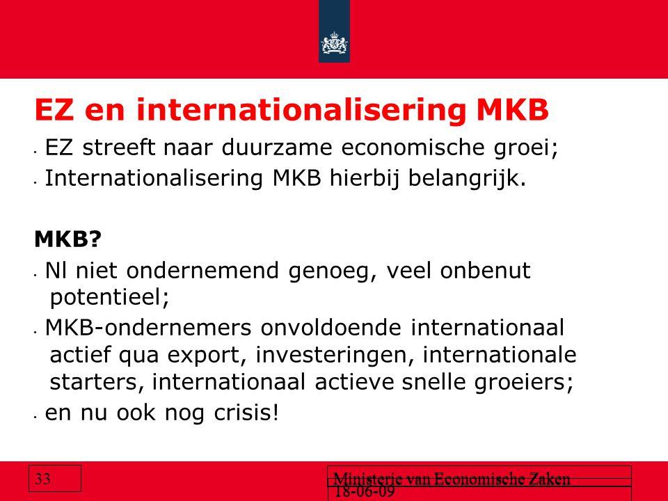 18-06-09 Ministerie van Economische Zaken 18-06-09 Ministerie van Economische Zaken 33 EZ en internationalisering MKB EZ streeft naar duurzame economische groei; Internationalisering MKB hierbij belangrijk.